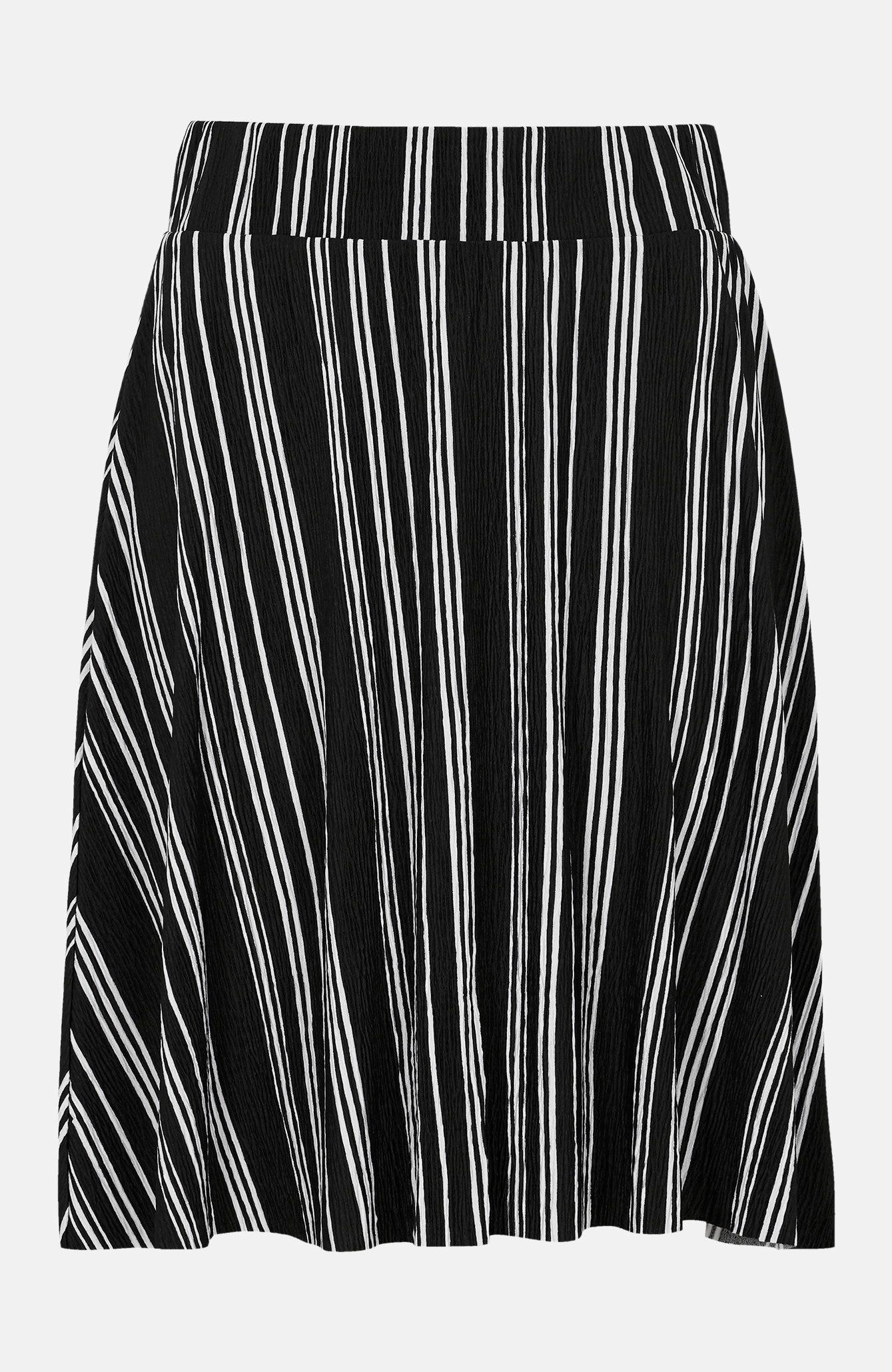 Randig kjol i krinklad trikå