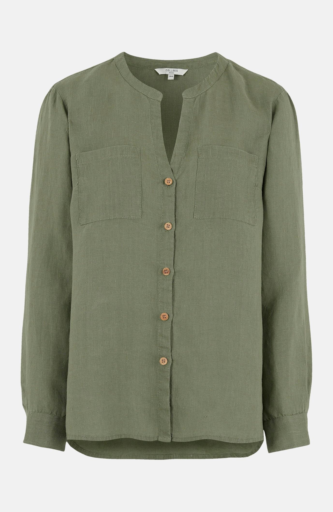 Linneskjorta med träknappar