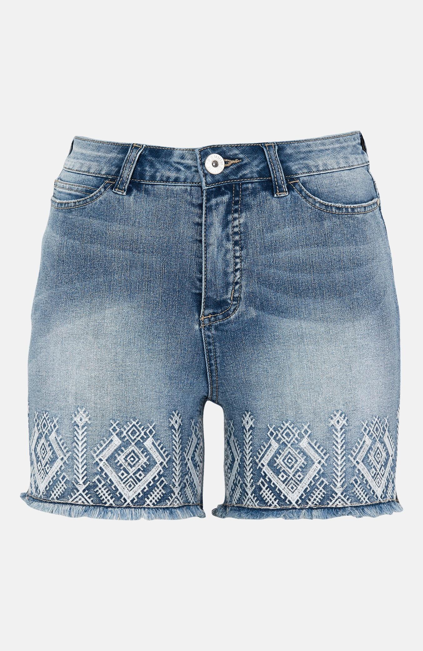 Jeansshorts med brodyr