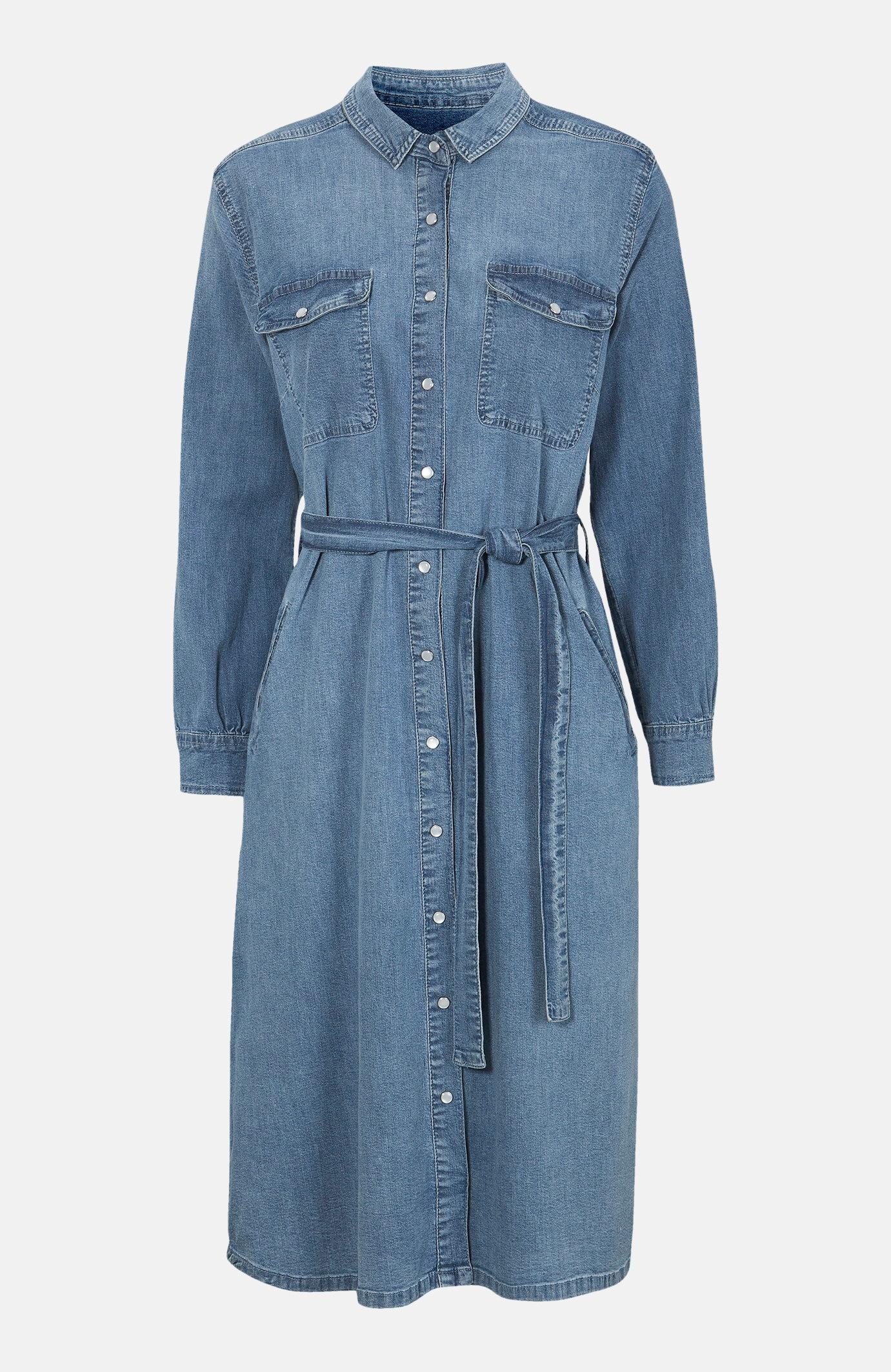 Denimklänning med tryckknappar