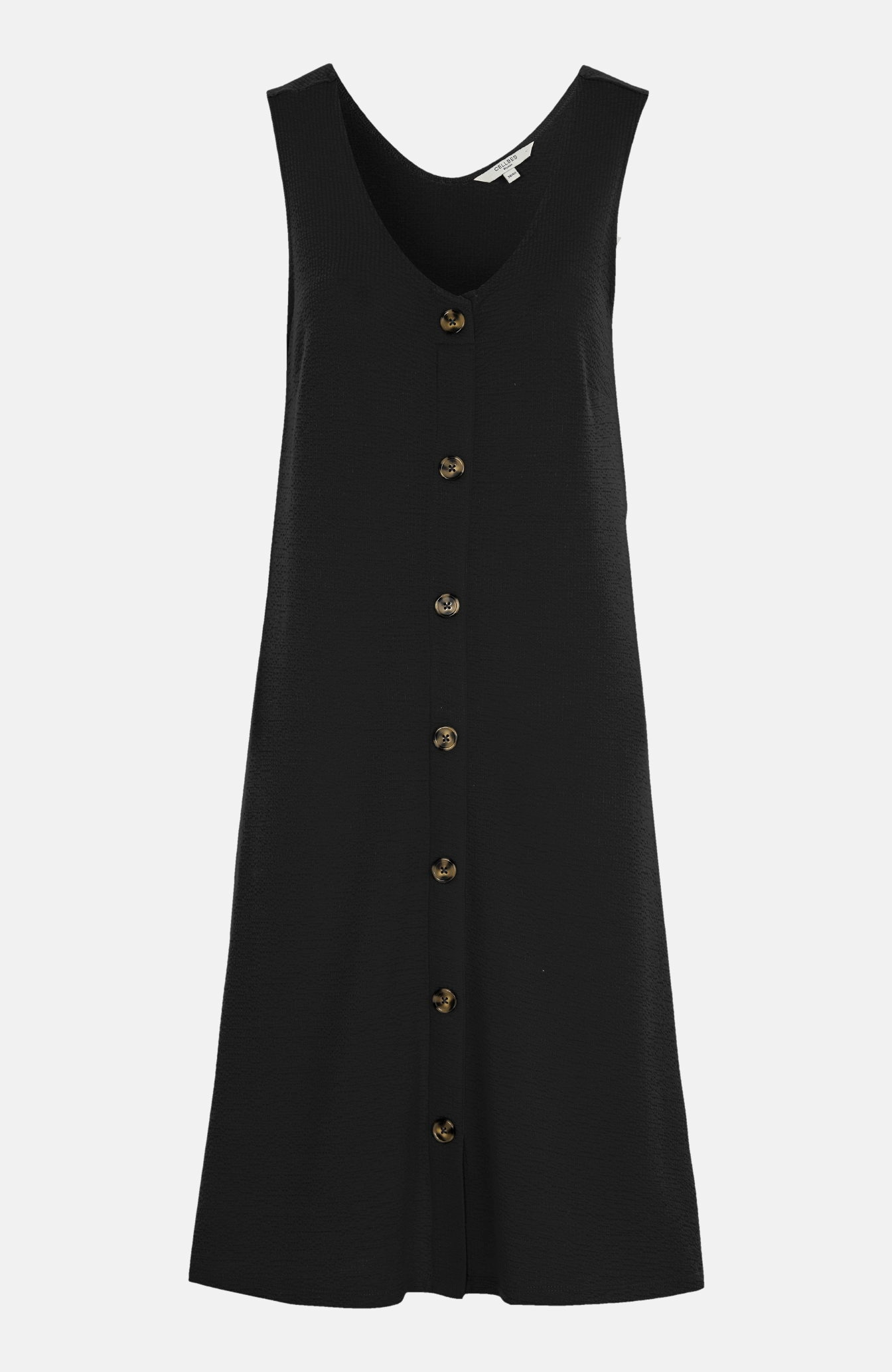 Krinklad trikåklänning med knappar
