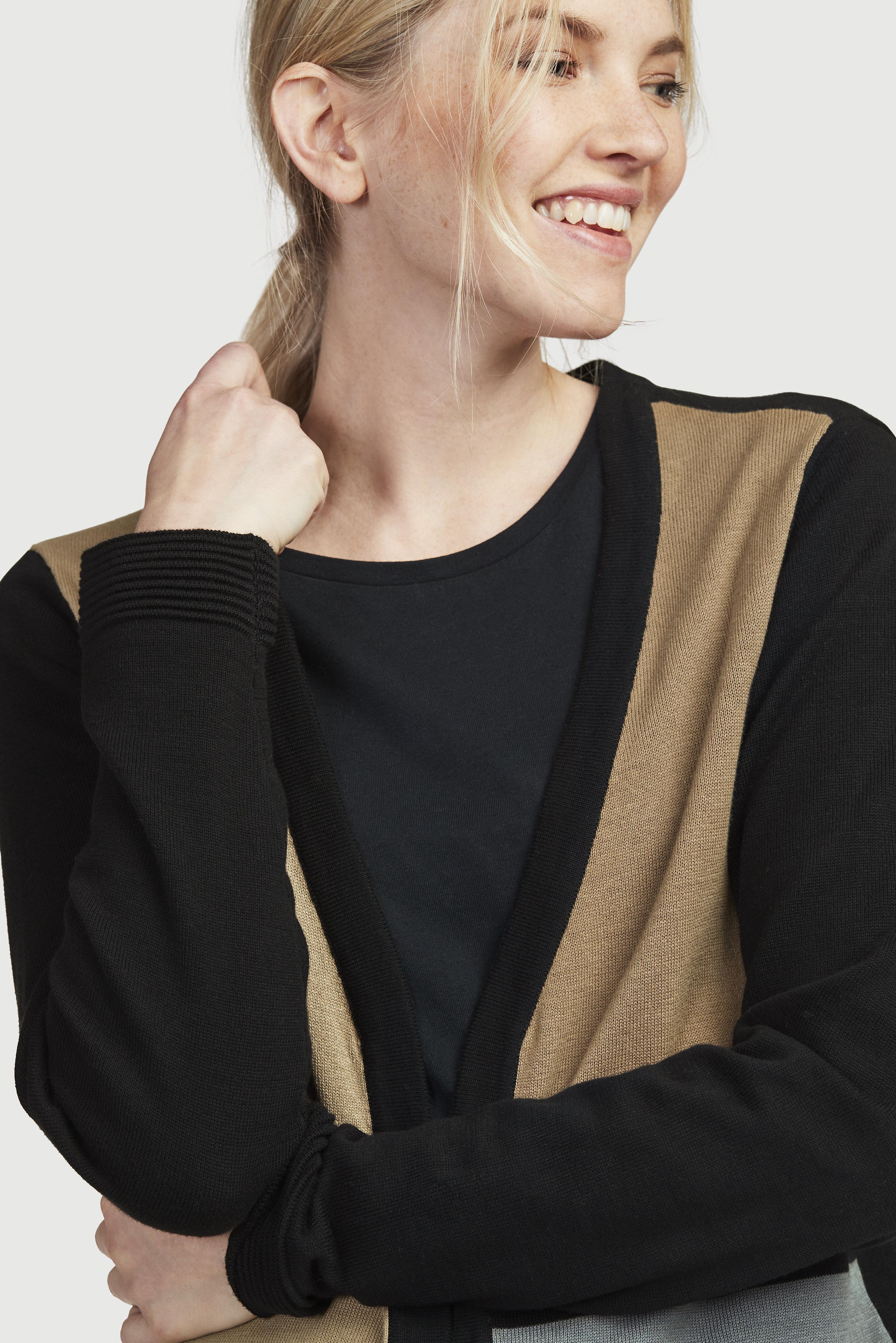 Finstickad, mönstrad cardigan