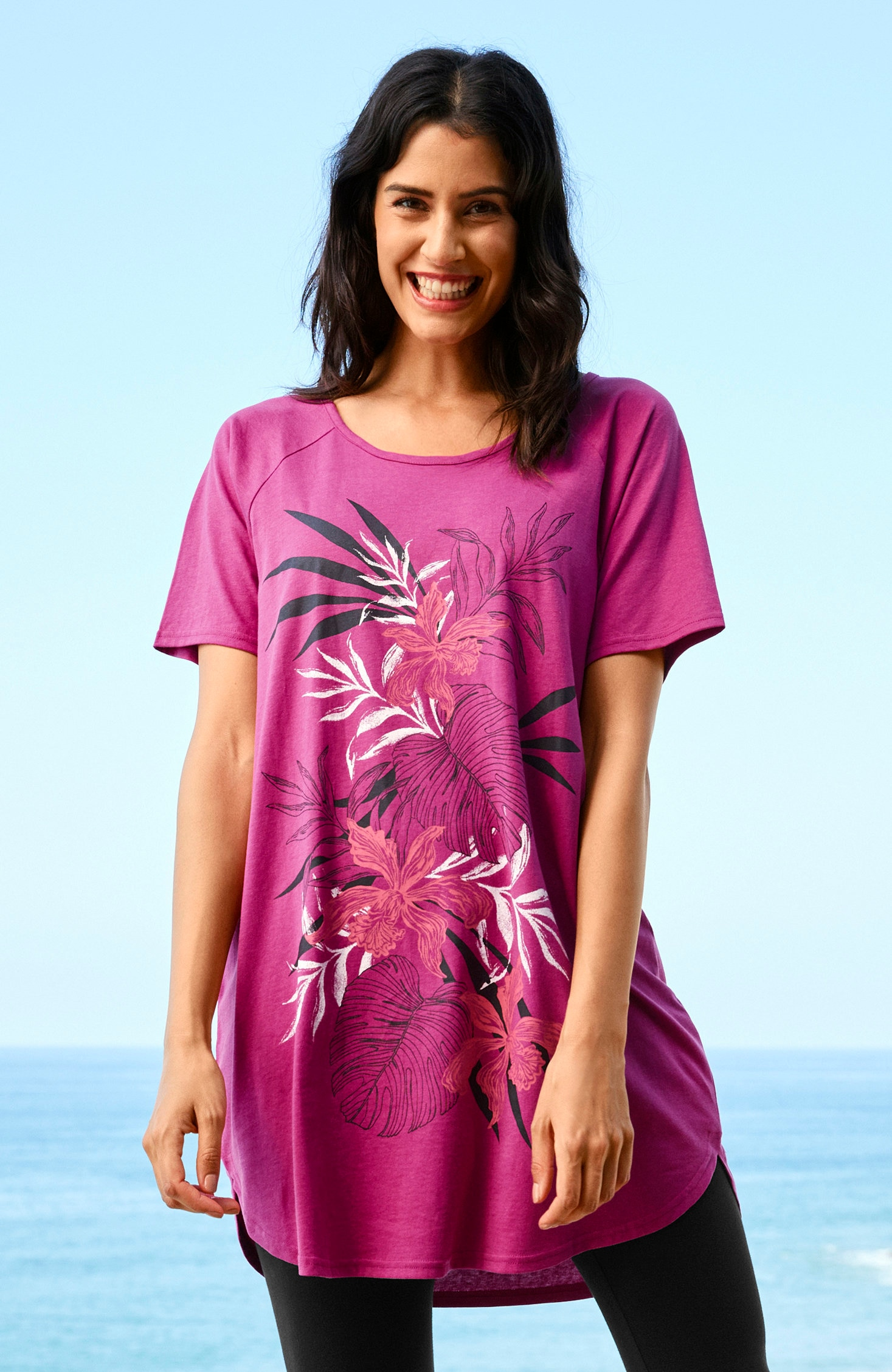 Jerseytunika med blommigt mönster 2-pack